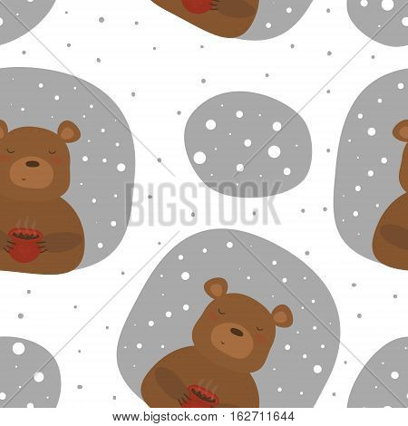 Vector pattern with bear and cup. Printable templates