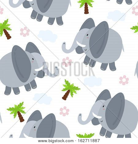 Cute seamless pattern with funny elephant. vector illustration.