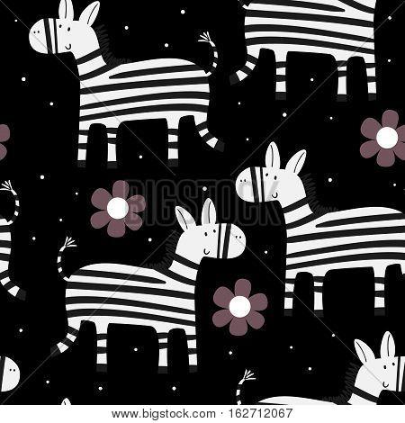 Cute hand drawn funny zebra Seamless pattern
