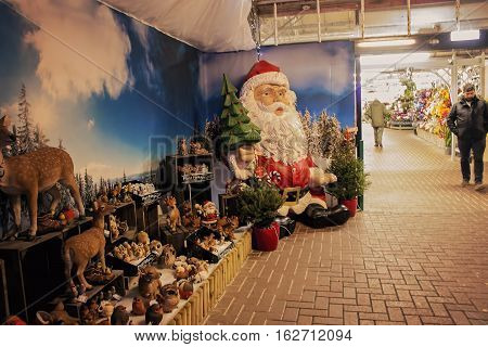 Lacock UK - November 19 2016: Christmas decorations on sale in Whitehall garden centre