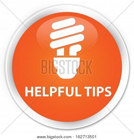 Helpful Tips (bulb Icon) Premium Orange Round Button