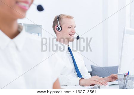Headphones On Heads Of Telemarketers