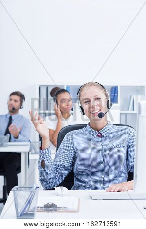 Telemarketer Using Selling Techniques