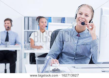 Female Telemarketer At Work