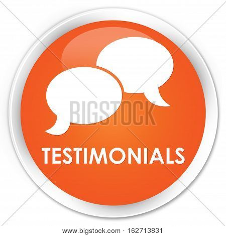 Testimonials (chat Icon) Premium Orange Round Button
