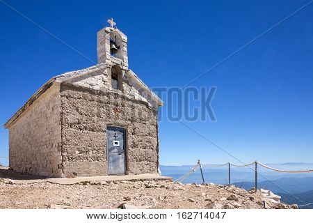 Croatia. Catholic church mountain view Biokovo nature park Dalmatia