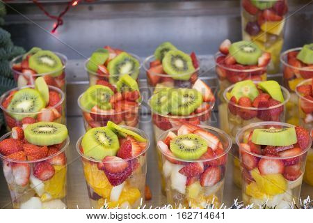 fresh cocktails with variety of fresh fruit