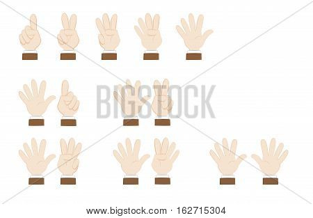 a vector cartoon representing a set of human hands posing and showing numbers, from 1 to 10