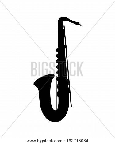 Black silhouette of a saxophone on the white background. Saxophone icon. Vector illustration.