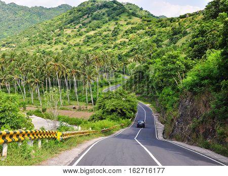 Rural Road In Lombok Island, Indonesia