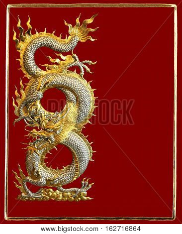 Silver Golden Dragon Greeting Card on Red Background