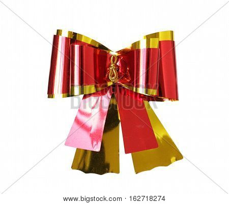 Shiny Ribbon Bow Red Golden isolated on white Background clipping path
