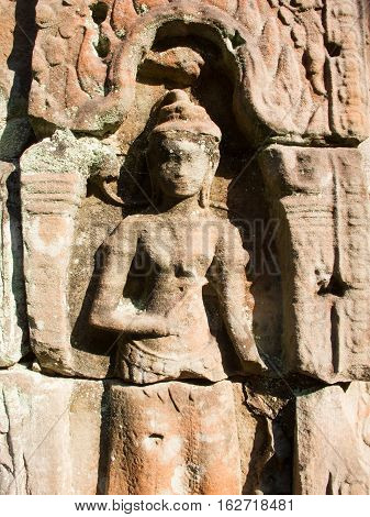 Closeup of an Apsara carving at Angkor's Preah Kahn temple