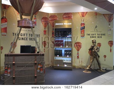 DUBAI, UAE - DEC 11: Johnnie Walker store at the Duty Free shops at Dubai International Airport, one of the busiest airports, as seen on Dec 11, 2016. It is the worlds busiest airport by international passenger traffic.