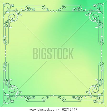 Whimsical square frame with vignettes on mixed background.