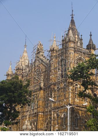 MUMBAI, INDIA - NOV 29: Chhatrapati Shivaji Terminus (CST) railway station in Mumbai, India, as seen on Nov 29, 2016. It is a UNESCO World Heritage Site.