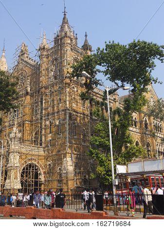 MUMBAI, INDIA - NOV 29: Chhatrapati Shivaji Terminus (CST) railway station in Mumbai, India, as seen on Nov 29, 2016. It is a UNESCO World Heritage Site.