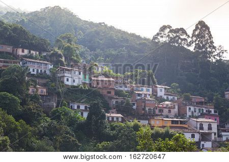 View Of The House On The Hill Of The Historical Town Ouro Preto Brazil