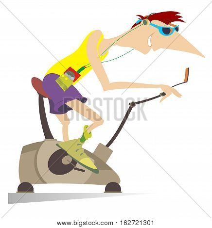 Sportsman trains on exercise bike. Cartoon smiling man trains on exercise bike