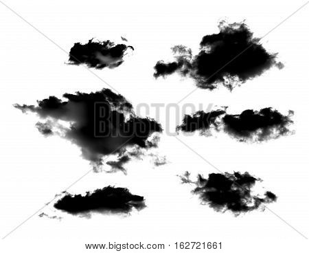 set of black clouds or smoke isolated on white background