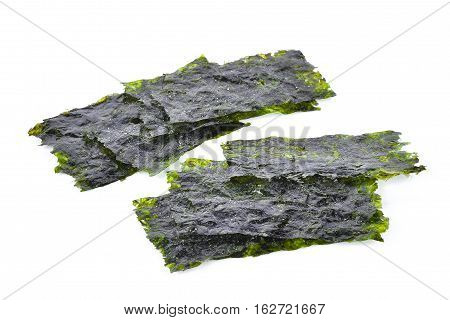 Sheet of dried seaweed Crispy seaweed isolated on white background.