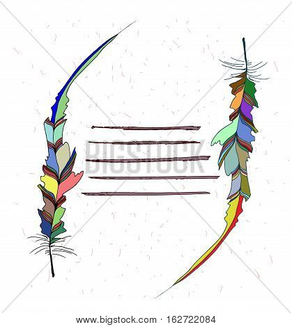 Frame made of colored feathers and a place for text. Hand illustration bird feather. Symbol of writing and learning. The old way of writing. Vector graphic design.