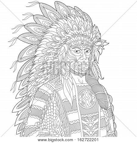 Stylized cartoon North American Indian chief (redskin man) isolated on white background. Freehand sketch for adult anti stress coloring book page with doodle and zentangle elements.