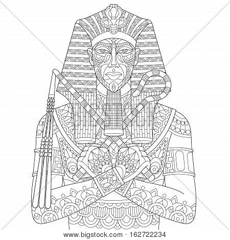 Stylized cartoon ancient egyptian pharaoh isolated on white background. Freehand sketch for adult anti stress coloring book page with doodle and zentangle elements.