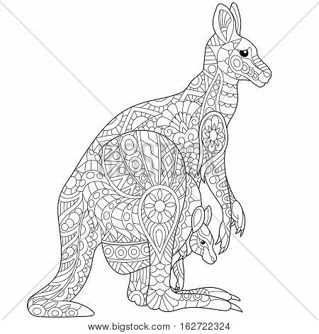 Stylized australian kangaroo family - mother and her young cub. Freehand sketch for adult anti stress coloring book page with doodle and zentangle elements.