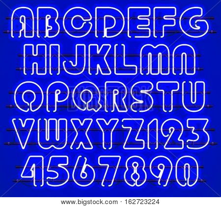 Glowing blue Neon Alphabet with letters from A to Z and digits from 0 to 9 with wires tubes brackets and holders. Shining and glowing neon effect. Every letter or digit is separate unit.