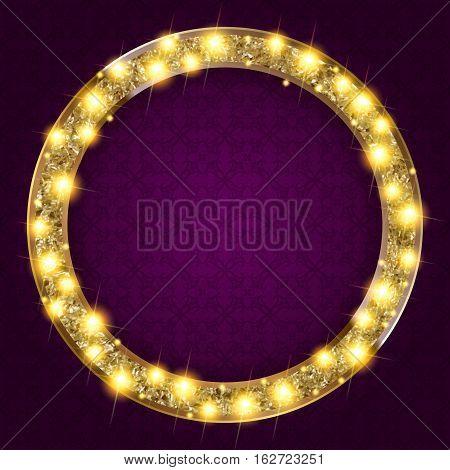Round Gold Frame With Lights On A Dark Background