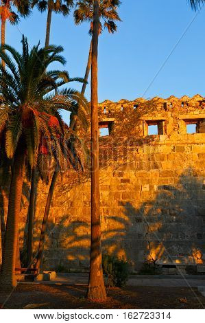 Fortification of a medieval castle in the town of Kos.