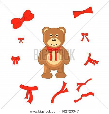 Brown Bear With Different Bows On A White Background