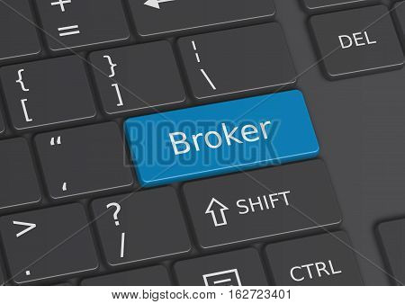 The word Broker written on a blue key from the keyboard