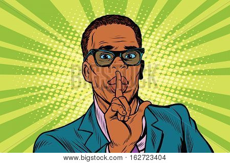 Businessman gesture Shh silence, pop art retro vector illustration. African American people