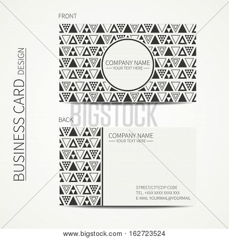 Vector simple business card design. Delta, trigon. Template. Black and white. Business card for corporate business and personal use. Trendy calling card. Geometric triangle pattern.