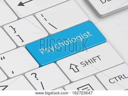 The word Psychologist written on a blue key from the keyboard