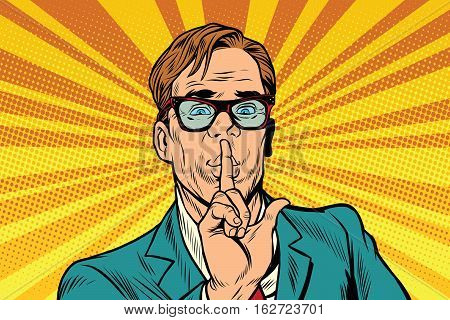 Businessman gesture Shh silence, pop art retro vector illustration