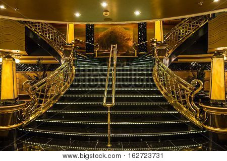 Cruise liner Splendida - MAY 7, 2016: Ladder interior of cruise liner Splendida MSC