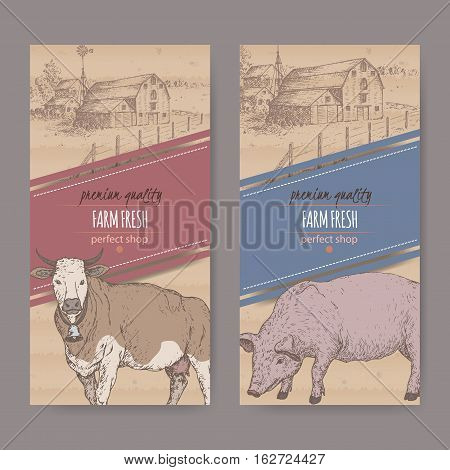 Set of two farm shop labels with farmhouse, barn, cow and pig. Placed on cardboard texture. Includes hand drawn elements.