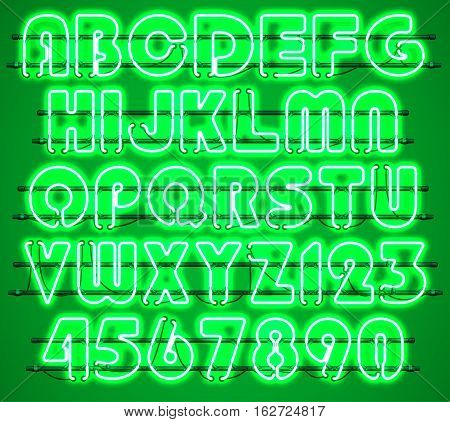 Glowing Green Neon Alphabet with letters from A to Z and digits from 0 to 9 with wires tubes brackets and holders. Shining and glowing neon effect. Every letter or digit is separate unit.