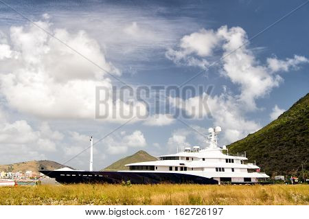 Luxury Boat Or Ship At Mountain