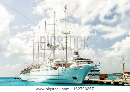 Luxury Boat Or Ship At Harbour