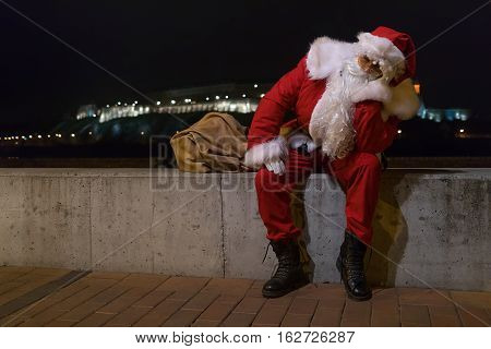 Santa Claus Relaxing After Long Night Of Work.
