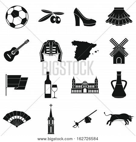 Spain travel icons set. Simple illustration of 16 Spain travel vector icons for web