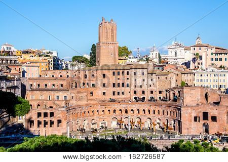 Trajan's Market a large complex of ruins in the city of Rome Italy