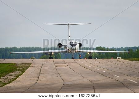 Ivanovo, Russia - May 20,2016: Tu-134 taxing after landing.