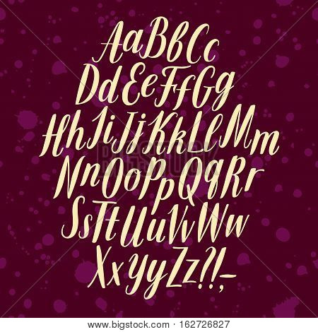 Hand drawn elegant calligraphy vector ABC letters. Beautiful refined font for your design.