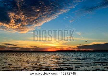 Sunset and clouds over a lake in Oklahoma.