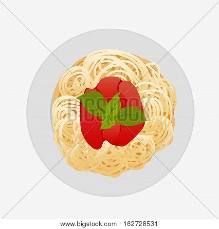 Spaghetti Bolognese Isolated On White Vector Illustration